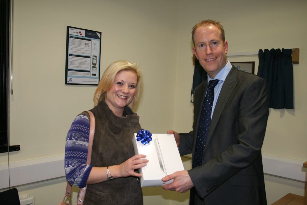 Kristal Ireland receiving her prize for winning the Search Labs quiz.