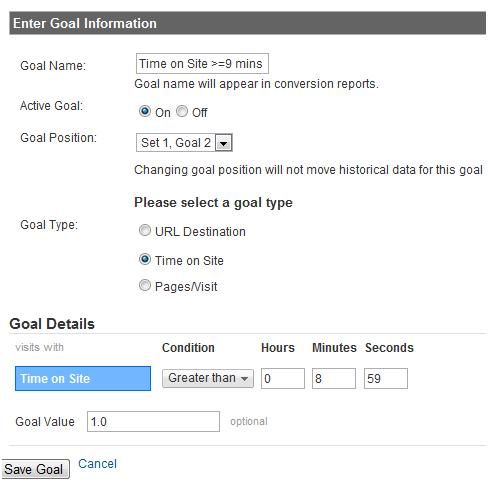 Goal Information Upload in Google Analytics