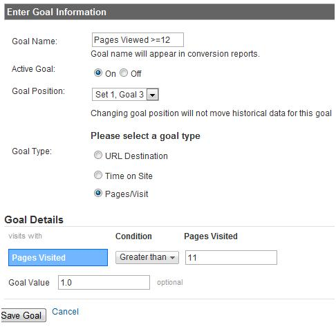 Goals in Google Analytics (Screenshot)