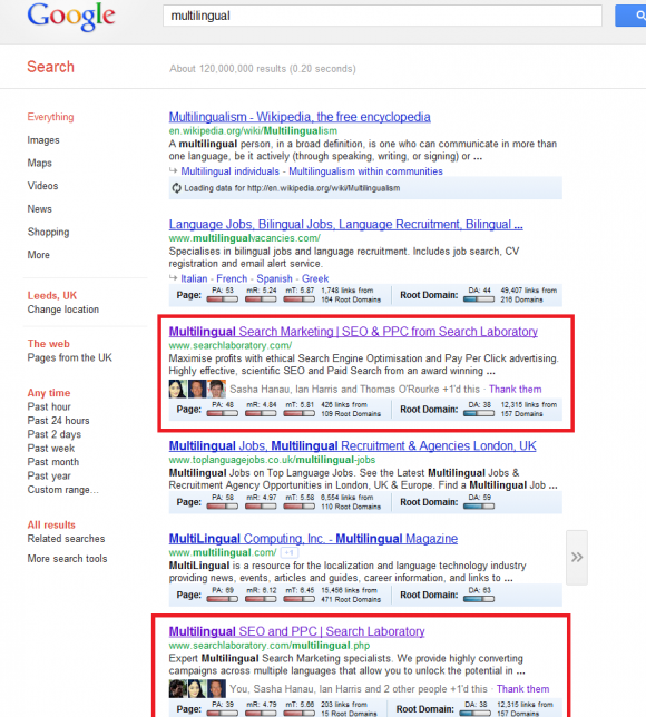 Google results including Google + results