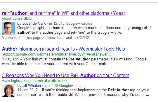 Rel=Author Google Results