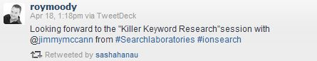 Killer Keyword Research Speech Tweet