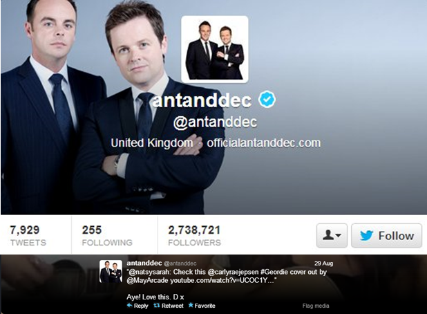 Ant and Dec's tweet