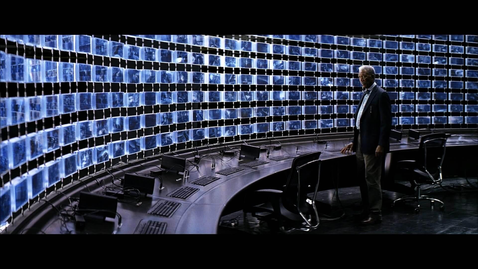 Morgan Freeman multiple screens and cameras