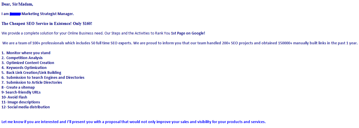 5 terrible SEO sales emails