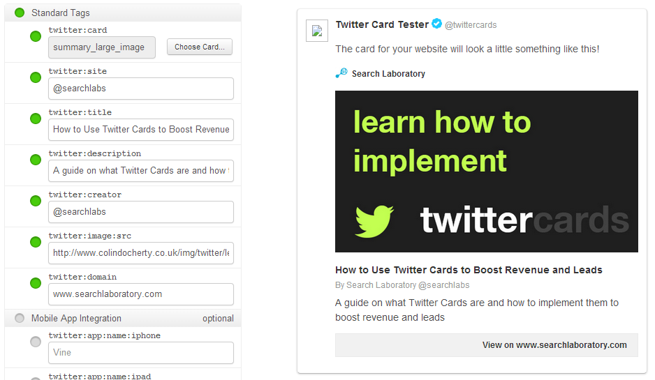 The Twitter Card Validator Tool makes it easy to generate the right Twitter Card HTML as well as giving a preview of what the Tweet will look like.
