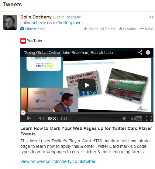 What the Player card looks like in a Twitter timeline.