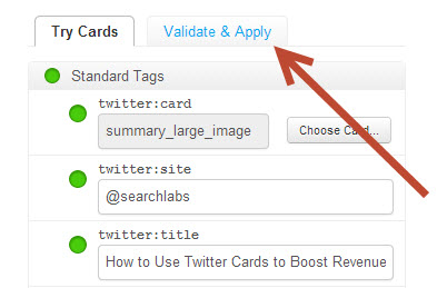 Once your page is live with the Twitter Card code embedded, apply for approval using the card validator tool.