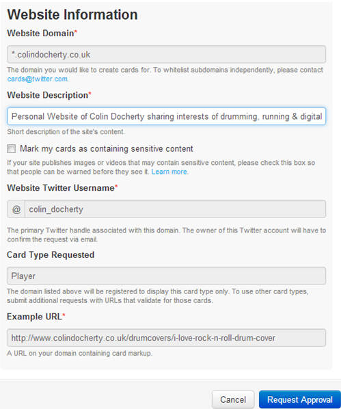 Twitter Card approval requires that you give some basic information about the site you want to use it for.
