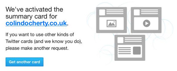 Once you receive an email like this from Twitter, you are free to use that card type on any page of your website.