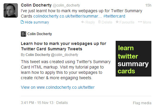 What the Summary card looks like in a Twitter timeline.