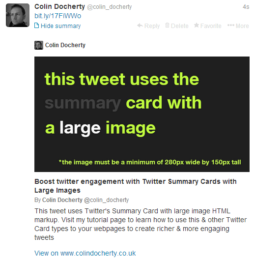 What the Large Summary card looks like in a Twitter timeline.
