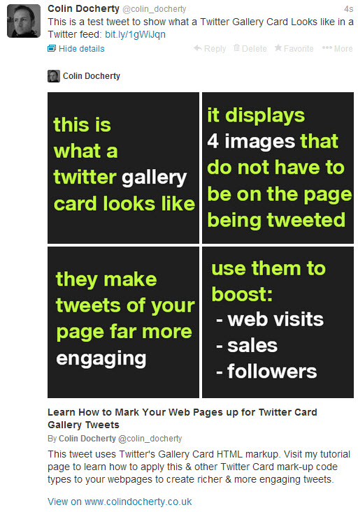 What the Gallery card looks like in a Twitter timeline.