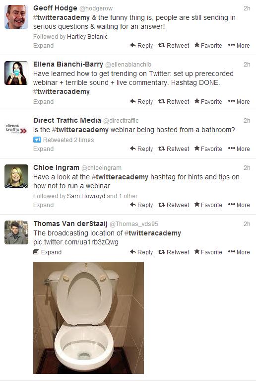 Twitter webinar fail