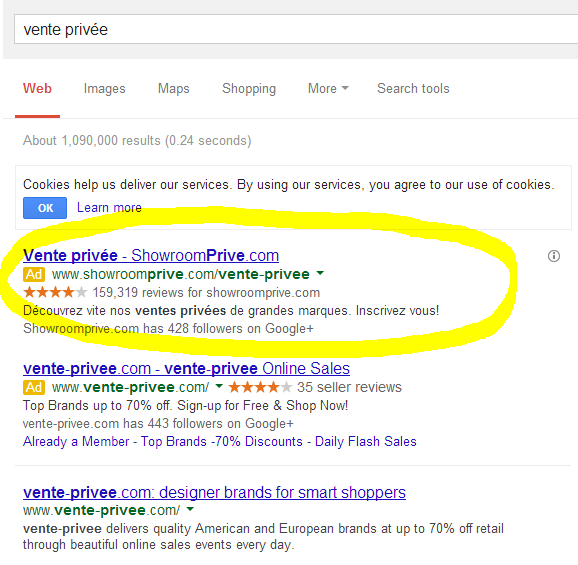 Google search results for vente privee