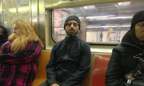 Sergey Brin, co-founder of Google, spotted wearing the new Google Glass technology