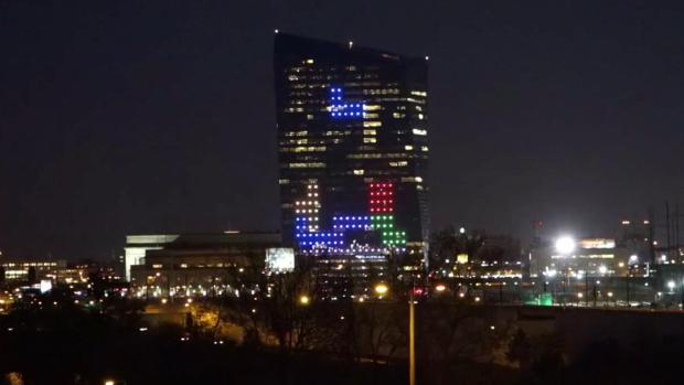 tetris on a skyscraper
