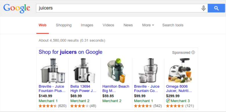 Google Shopping ad ratings