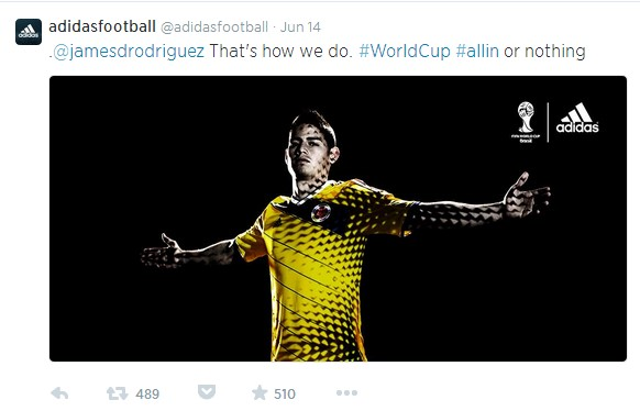 addias tweet before World Cup