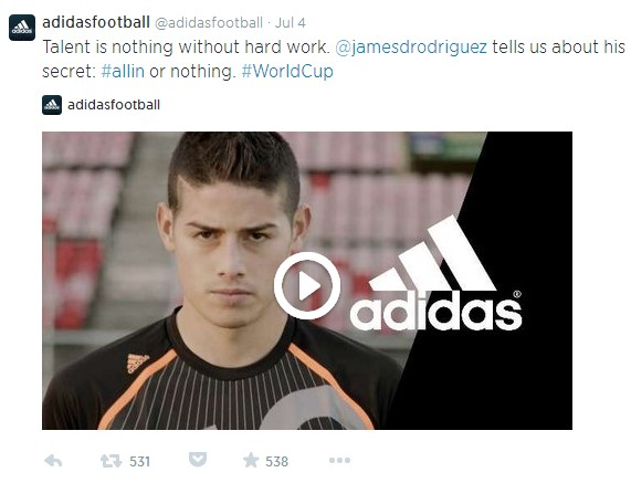 Adidas tweet during World Cup