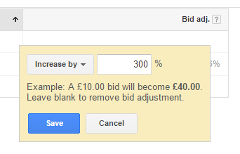 AdWords mobile bid adjustment screenshot.