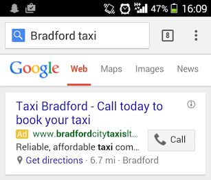 Mobile phone screenshot of click-to-call ad.