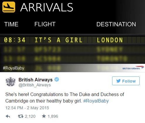 British Airways Royal Baby Tweet - Credit Twitter