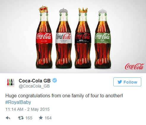 Coca-Cola Royal Baby Tweet - Credit Twitter