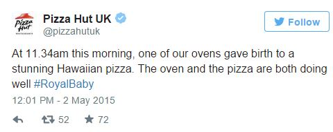 pizza hut royal baby tweet