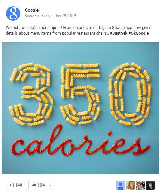 Google calories