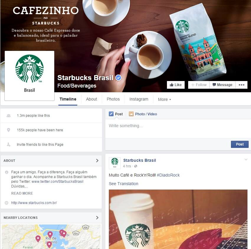 Starbucks Brasil Facebook page
