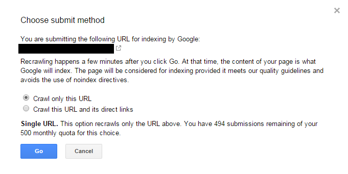 Submit your site to Google for crawling