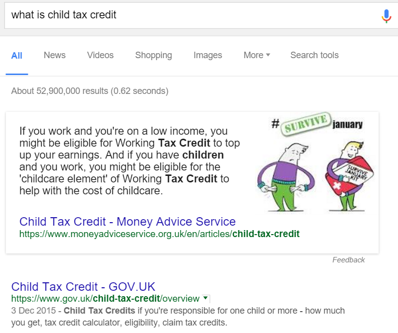 Query child tax credit