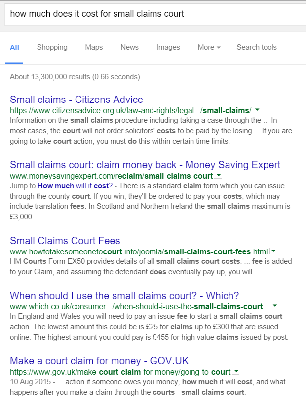 Query Small claims court