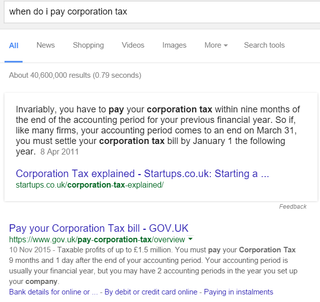 Query Corporation Tax