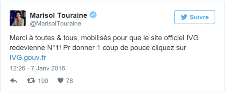Tweet French Health Minister