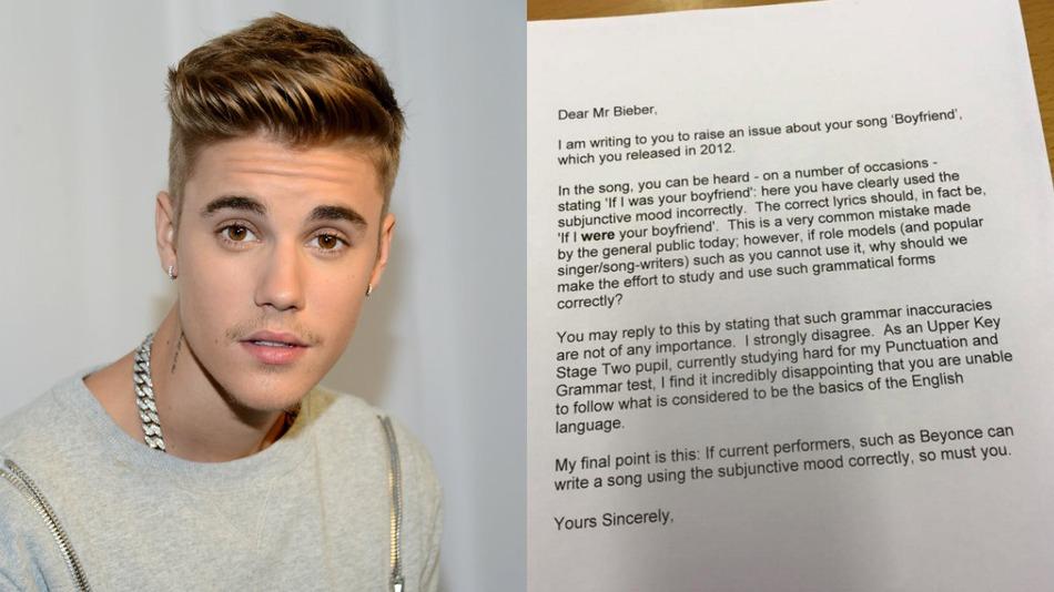 Bieber under scrutiny over his grammar