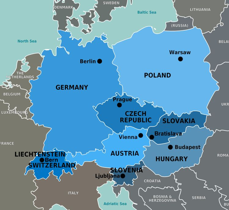 Map of Europe with Austria and Germany