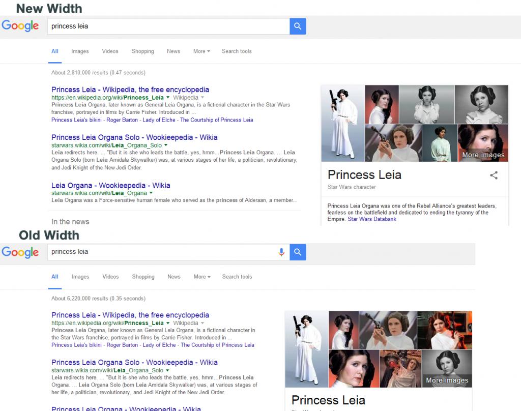 New width vs old width on Google SERP