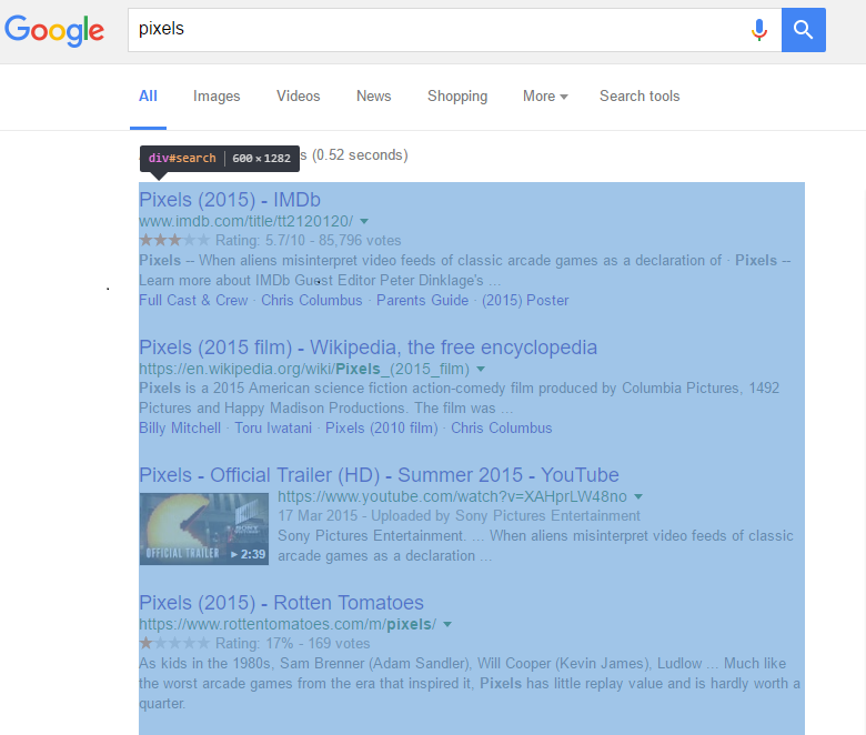 Google SERP result column pixel width