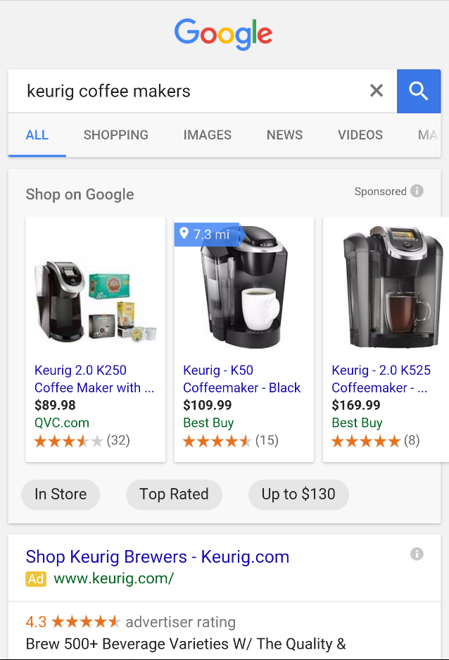 Google tests Shopping filters
