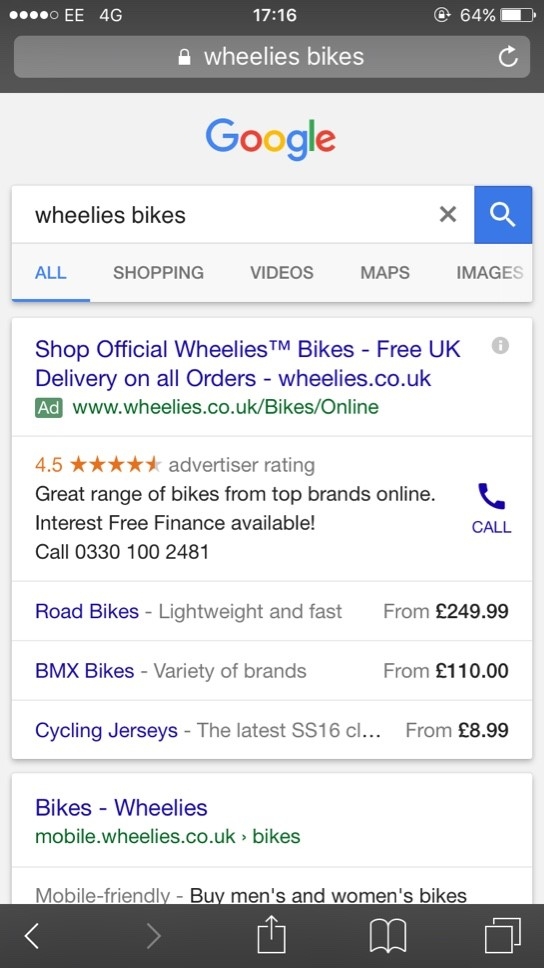 Google search page price extensions