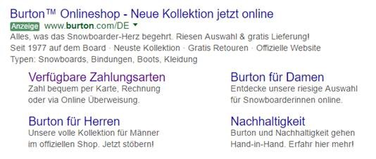 German example of PPC Call to Action