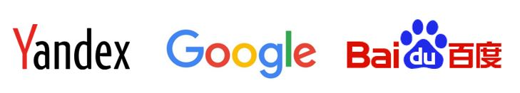 Major global search engines - Yandex, Google, Baidu