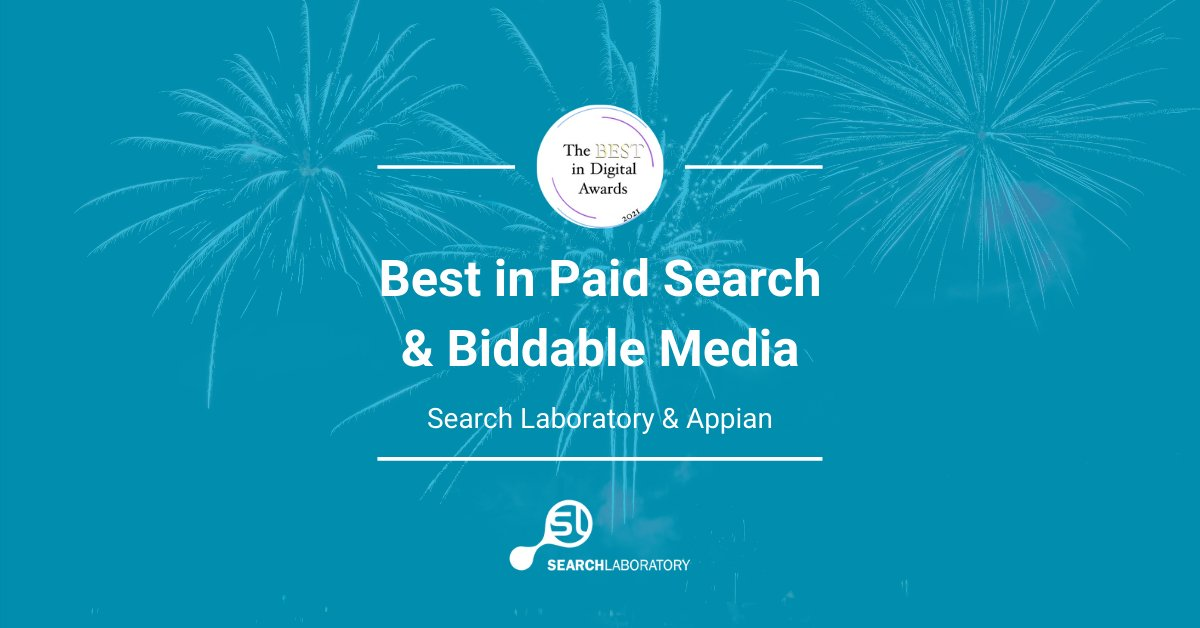 best in paid search and biddable media - search laboratory and appian award