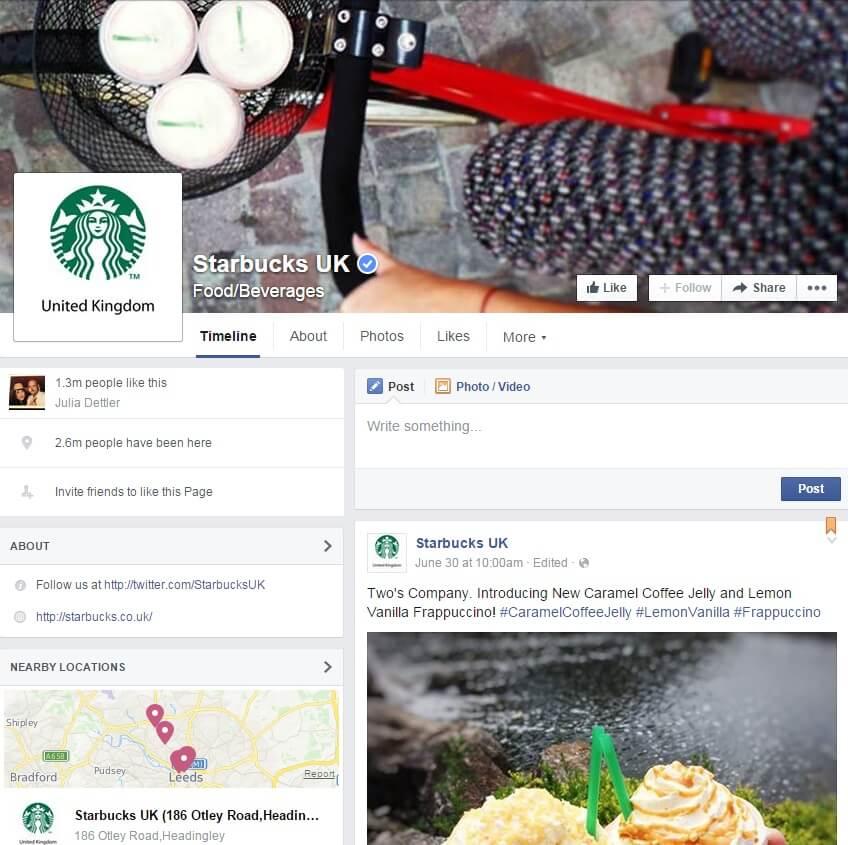 Starbucks UK Facebook page