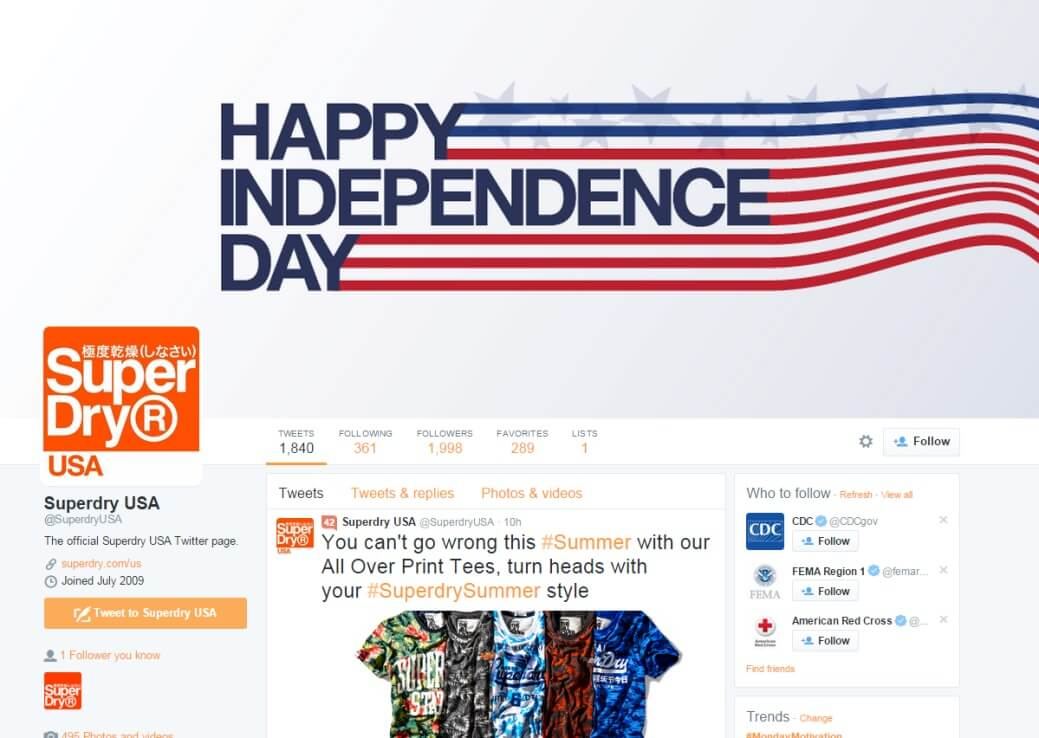 SuperDry Spain Twitter page