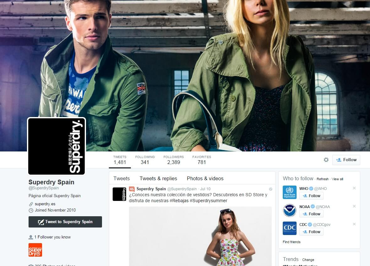 SuperDry USA Twitter page